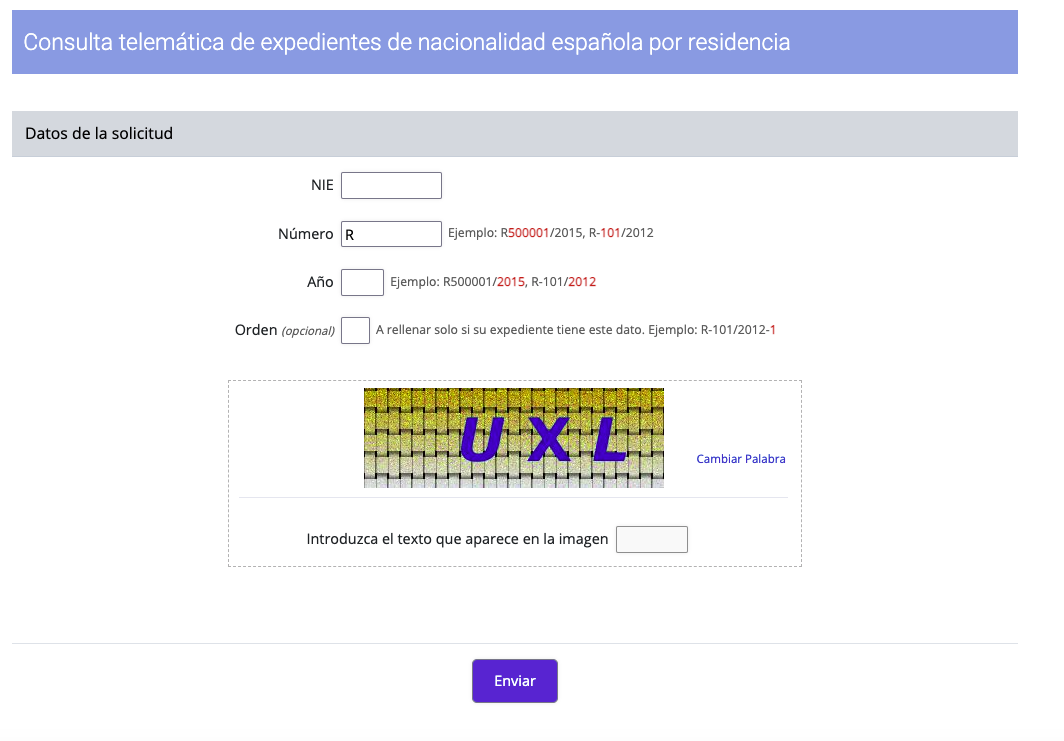 check nationality application in spain